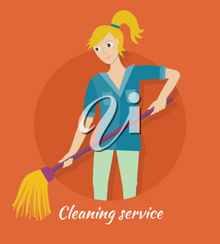Cleaning service banner. Young woman in blue uniform with mop. House cleaning service, professional office cleaning, home cleaning, domestic cleaning service. Website template.