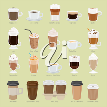 Set of coffee types and packages. Coffee menu vector illustration. Preparation of beverages. Collection of glasses with cappuccino, latte, espresso, americano, mocha, frappuccino. Take away. Vector