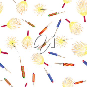 Seamless pattern with colorful rockets and sparkler firework elements isolated on white in cartoon style flat design. Vector New Year attributes with salute emblems and pyrotechnic firecracker.