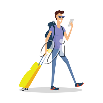 Traveller with luggage makes selfie. Summer vacation concept. Traveling with baggage illustration. Flat style design. Smiling man with trolley suitcase holding phone. Isolated on white background.