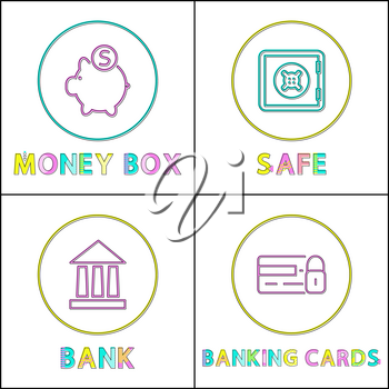 Money box and safe, bank and banking cards lock set. Icons with pig and coins. Strongbox locked firmly, institution isolated on vector illustration