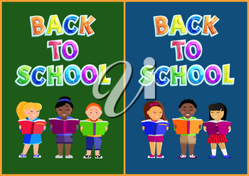 Back to school vector poster set with reading schoolchildren. Multi-ethnic pupils, kids with books right for education postcard, flyer or brochure.