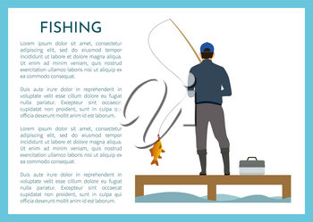 Fisherman fishing at lake with rod and catching fish. Sport outdoor man leisure and relaxation at his hobby, fishing tackle box vector illustration