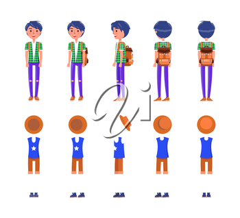 Young teenager clothes stylish icons set vector. Clothing of fashionable male with cool hairstyle, modern hipster look. T-shirts and trousers hat
