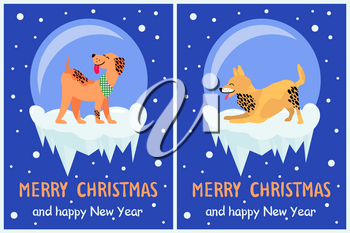 Merry Christmas and Happy New Year 2018 symbol happy dogs on dark snowy background. Vector illustration with cute smiling pets having fun