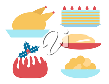 Christmas dinner icons set, plates used for celebration of winter holiday, turkey and bread, cake and mistletoe as symbol vector illustration