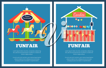 Funfair set of two posters with carousels and booths on blue background. Vector illustration with colorful attractions and food kiosks with candies