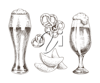 Snack food and foamy beer in glasses graphic art isolated on white background, vector illustration of chips and pretzels with pair of glassy goblets
