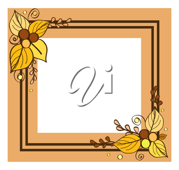 Border empty inside with place for text vector of photoframe in fall season style. Autumn frame consisting of two lines and leaves, floral decoration