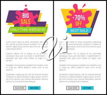 Big sale only this weekend, total end discounts -70 off, headline and additional phrase on ribbon vector illustration isolated on white web posters set