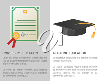 University academic education poster with licence with golden stamp and square hat with tassel isolated vector illustrations with text