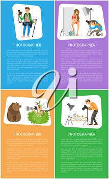 Photographers with cameras banners. Photocorrespondent holding tripod, model at studio, wildlife reporter and still life picture vector illustrations.