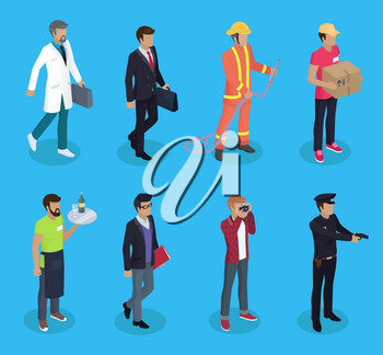 Server and doctor professions 3d isometric icons set. Businessman and firefighter with hose delivery man and parcel. Journalist cop police vector