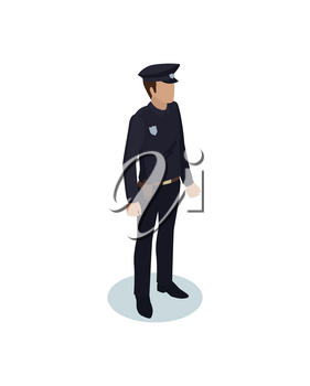Police officer in black uniform. Strong person wearing special clothes with badge. Protection of are by man working as policeman isolated on vector