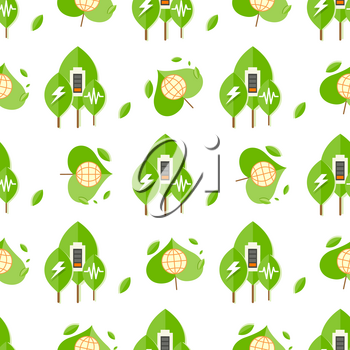 Seamless pattern with trees, battery signs, globe icon and charging symbol. Concept of using environmentally safe sources of power