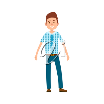 Man in casual cloth wears checkered t-shirt and blue jeans vector illustration isolated on white. Grown up male adult full length cartoon character