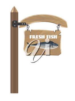 Fresh fish depicted on hanging wooden board with inscription isolated on white vector colorful illustration in graphic design