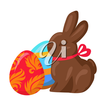 Sweet chocolate bunny and two multicolored eggs on white background. Brown sugary rabbit with pink ribbon on neck. Painted balls with tracery. Vector illustration of easter cartoon style drawn icon.