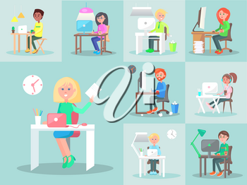 Employees work at computers in office. Characters working as designers, freelancers at home, business managers with coffee, woman in headphones, people in glasses. Vector illustration of studying
