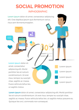 Social promotion infographic boy with smartphone, hand holding and using cellphone with signs of message and photos above round colourful diagram and written text information on whole white page