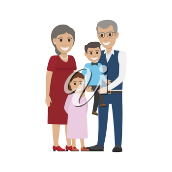 Aged couple and grandson with granddaughter isolated. Happy senior man and woman together with grandchildren. Middle aged couple. Older man and woman having fun. Senility old aged vector illustration