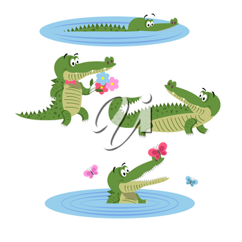 Cartoon crocodiles in water, with butterflies, with flowers in bow tie and in natural animal position isolated on white background. Lovely crocs in wildlife. Friendly reptiles vector illustration.
