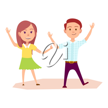 Young boy in shirt and trousers and girl in blouse and skirt raise hands up and walk with happy face expression vector illustration.