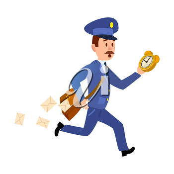 Running mailman hurries to deliver mails. Isolated mailman with bag, dropping letters and clock in hand isolated on white background. Postman greets you and run to give you mail vector illustration
