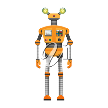 Orange robot with big artificial eyes isolated on white background. Android with pincer hands and two horns, metal head, long iron body, powerful legs fastened by black waist vector illustration.