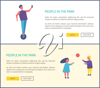 People in park poster, man riding on segway and making selfie, children playing with ball vector illustration web posters. Outdoor summertime activities