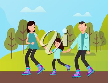 People spending time together vector, mother and father teaching kid to roll. Rollers on natural, straight road with flat surface, child with parents
