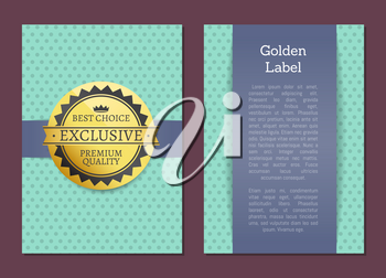 Golden label reward guarantee cover design exclusive high quality best choice stamp award vector illustration emblem isolated on blue with dots