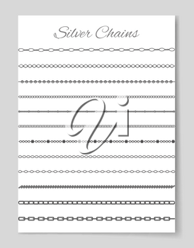 Silver chains poster with collection of jewelry, types of items, headline and presentation of connected strong objects isolated on vector illustration