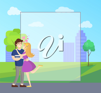 Boy and girl hugging with hearts showing love and passion, vector on background of skyscrapers in park, place for wishes and greetings, transparent border