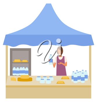 Milk and cheese production at store vector, isolated character working as salesperson. Marketplace with fridge for products, bottles with water on shelf. Flat cartoon