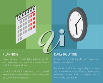 Planning daily routine template vector poster of two parts with green and blue backgrounds and paper calendar, round clock and text on them