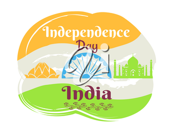 Independence Day in India poster with national flag and famous sights and country symbols silhouettes isolated vector illustrations.