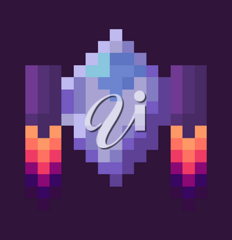 Retro spaceship, pixel art sign in 8 or 16 bit game in dark night sky. Vector starship in universe, pixel-art play and burning rocket ship on purple, pixelated cosmic object for mobile app games