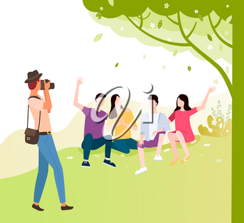 Tourist making photo of friends sitting together under tree. Vector young man and woman spend time together, people making pictures, professional photographer