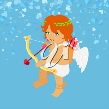 Little angel with white wings, festive card. Valentines Day Cupid aiming with bow, heart with arrow. Cartoon character boy isolated on blue vector