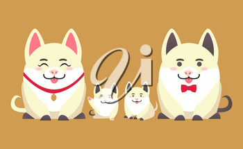Family of pigs, mother, father and kids. Animals with winking face and raised paw. Sitting piggy in flat style isolated vector, Chinese New Year symbol