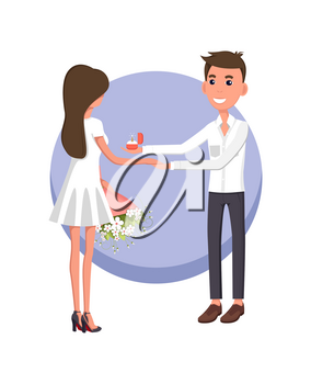 Boyfriend making proposal to girlfriend wearing white dress and holding bouquet, poster with happiness and good feelings vector illustration