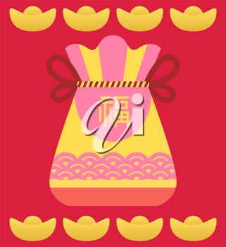 Lucky chinese sack and golden symbol, festive card in red color with frame decorated by colorful bag with cord. Fortune bag or pocket and holiday sign on card, celebration postcard with case vector