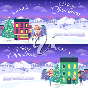 Postcard with Merry Christmas text. Vector illustration of smiling family father mother and son on white snowy field in red hats. Mountain forest and houses on the background, city entertainment
