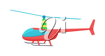 Goodly toy of color helicopter vector illustration of bright red chopper with two grey skis and blue paddle and glass isolated on white background
