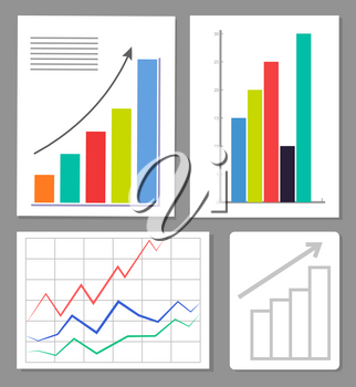 Set of four charts, colorful vector illustration, statistics data visualization, positive growth, charts with varied color pillars, abstract grid