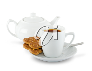 cuppa and biscuits isolated on white