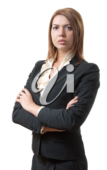 portrait of strict woman in office attire. isolated on white