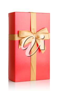 red gift box with bow isolated on white