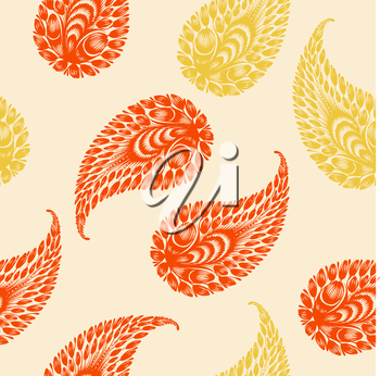 coloured seamless pattern with motive of paisley